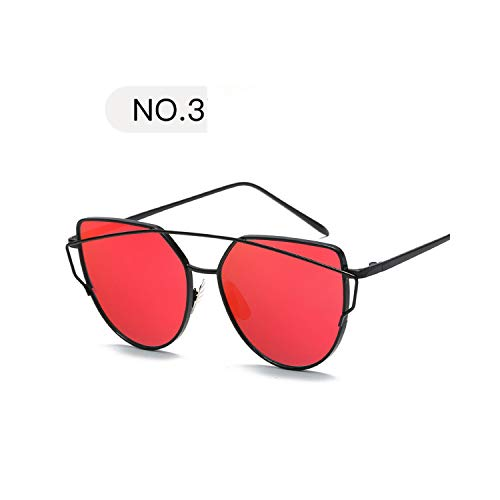 Sportbrillen, Angeln Golfbrille,New Fashion Cat Eye Sunglasses Women Luxury Brand Design Mirror Lens Vintage Sun Glasses Rose Gold Metal UV400 Oculos C3