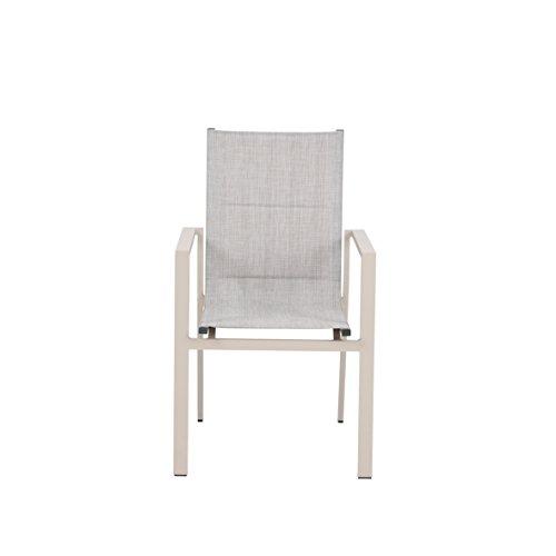 greemotion Gartenmöbel Set Stockholm beige/grau, 5-teilige Sitzgarnitur mit Esstisch, wetterfestes Lounge Set, Gartengarnitur für 4 Personen, Gartenlounge für die Terrasse aus