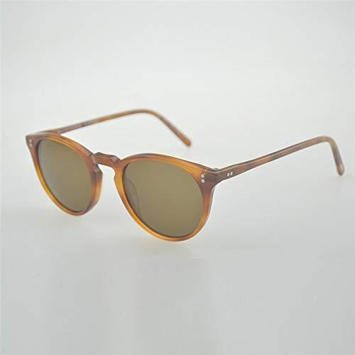 LKVNHP Hohe Qualität Unisex Retro Sonnenbrille Marke Oculos De Sol Oval Runde Sonnenbrille Sonnenbrille RahmenBernstein Vs Braun