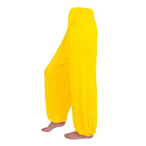 Pantalon Spandex Doux Modal Pantalon Harem Yoga Pilates Pants Lanterne Femmes SANFASHION(Jaune,S)