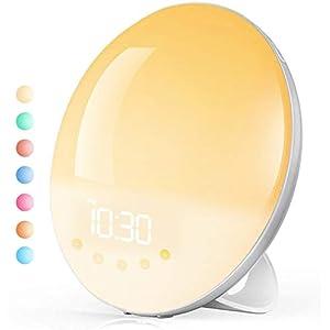Lichtwecker Wake-up-Licht, Tasmor Wake up Light mit Sonnenaufgang Sonnenuntergang Simulation, FM Radio, 30 Heilligkeits, Schlummerfunktion und 8 natürlichen Klängen