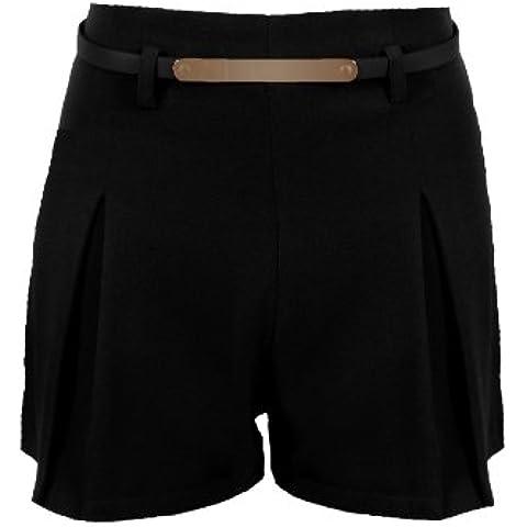 Fantasia–Pantalón corto para mujer cinturón dorado sobre medida cremallera dos Chic de verano plisada