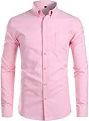 ZEROYAA Men's Casual Solid Slim Fit Long Sleeve Button Down Oxford Shirts with Po
