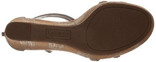 Lauren Ralph Lauren Quanita Wedge Cuir Sandales Compensés Polo Tan
