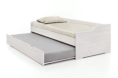 Massivholz-Gästebett aus Kernbuche weiß, ausziehbares Doppel-Bett, als Jugend- & Kinderbett verwendbar, Funktionsbett aus Holz, Bett 90 x 200 cm