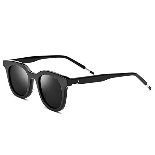 DelongKe Unisex-Sonnenbrille Mit Polarisierter Platte, Mode-Dreieck-Metallscharniere Schlagfestigkeit Stark Ultradünn 100% UV-Schutz (Zwei Farben Optional),Blackframe