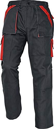 Stenso Max - Pantaloni da Lavoro in Cotone da Uomo Nero/Rosso 46