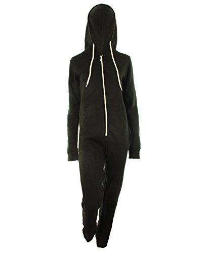 Dayna Donna Unisex in pile foderato Plain colorato con cappuccio con Cuff chiusura lampo anteriore Donna Tuta Jumpsuit Tutina nero S-M 42-44