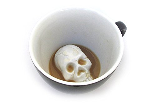 Taza de cerámica calavera de CREEPY CUPS (440 ml, negro medianoche) | Animal oculto en el interior...