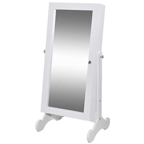 VidaXL Espejo Armario Joyero Blanco con Luz LED Armario Guarda Joyas Organizador