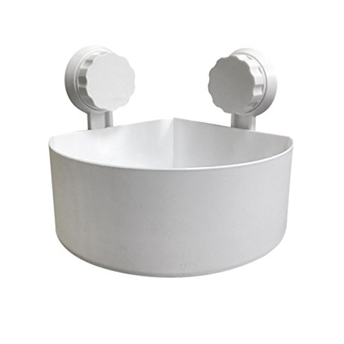 Gaddrt Plastik Saugnapf Badezimme Küche Eck Speicher Zahnstange Organisator Dusche Regal Haken zum Einhängen Badregal Bad Utensilo(Weiß)
