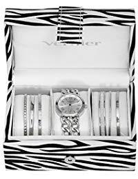 Vernier VNR1700SET Damen-Armbanduhr, analog, Quarzuhrwerk, Schmuckkästchen, silberfarben