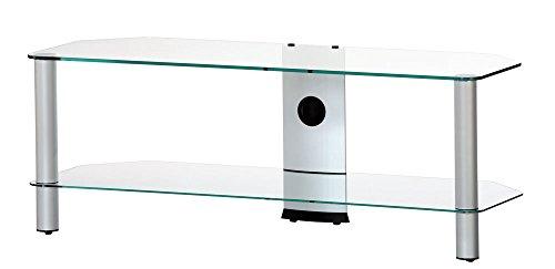 Ro & Co m-1302 TG – Meuble TV de 2 étagères. Verre Transparent/châssis de Couleur Gris. Largeur 130 cm.