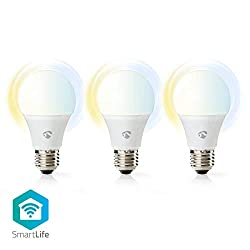 Nedis Smartlife LED Lampe E27 kaltweiß/warmweiß 3er Pack kompatibel mit Amazon Alexa und Google Home kein extra Hub nötig