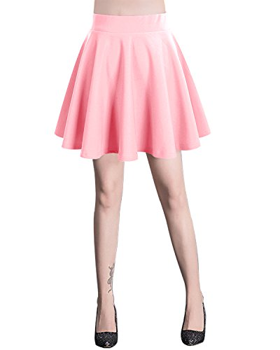 bridesmay Damen Mini Rock Basic Solid Vielseitige Dehnbaren informell Minikleid Retro Sexy Rock Faltenrock Pink M