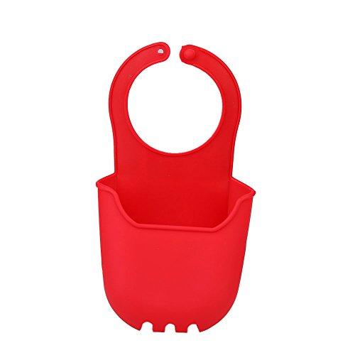 Hanbaili Hängender Speicher faltender Silikon-Korb Sink Hanging Drain Bag rot, Für Home Küche Badezimmer