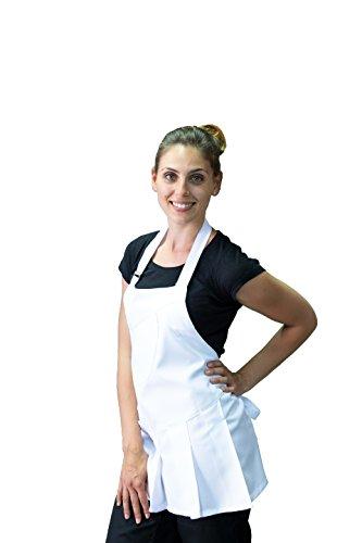tessile astorino Schürze Frau, Bleichen, für Friseur und Kosmetikerin, Bar, Haarschnitt Friseur, Restaurants, Kneipen, für Frauen, weiß, Made in Italy - Tunika Chef Mantel