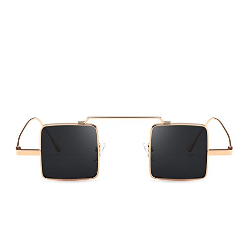 Occhiali da sole quadrati, hiroo occhiali da sole retrò occhiali da sole con montatura in metallo occhiali da sole con aviatore da esterno occhiali colorati con trattamento uv integrato (h)