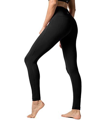 LAPASA Damen Leggings Yoga Sport Pants Lang High Waist, 1 bis 2er Pack MEHRWEG L01 (Black, XL)