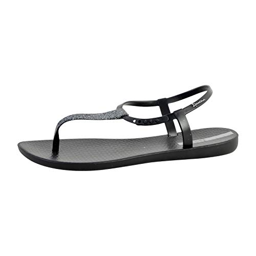Ipanema Women's Pop Glitter 21 Plastic Slip On Sandal Black-Black-7 Size 7