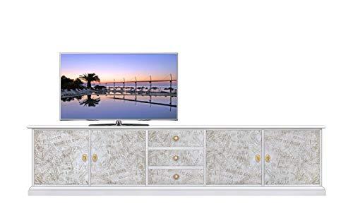 Arteferretto TV Lowboard gespachtelt Effekt modern Design, TV-Möbel Struktur aus Holz, 4 Türen 3 Schubladen, Wohnzimmer Einrichtung, TV-Lowboard 250 cm Breite, Italy