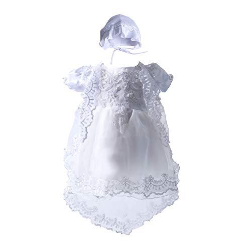 BabyPreg® Baby-Mädchen-Tauf-Taufe-Kleid-Geburtstagsfeier-Kleid (L/ 9-12 Monate, Weiß)