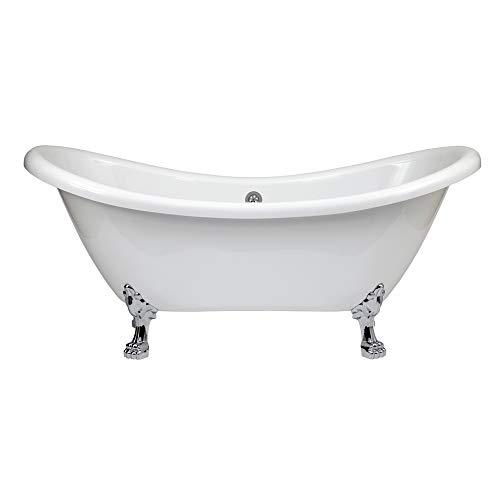 Hudson reed legend vasca da bagno freestanding con piedini a zampa di leone cromati - acrilico bianco - design centro stanza vittoriano - 1750 x 720 x 785mm
