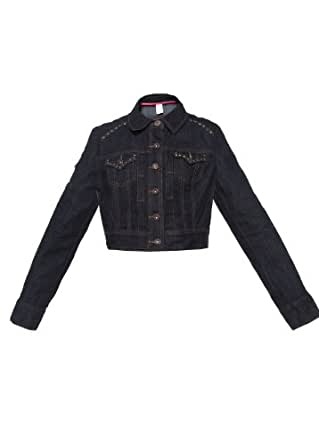 Candie Womens Long Sleeveless Denim Jacket Blue S