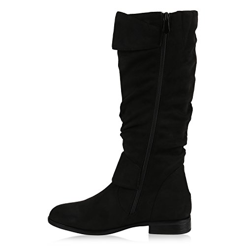 Stiefelparadies Klassische Gefütterte Stiefel Damen Schuhe Veloursleder-Optik Winterschuhe Schnallen Blockabsatz Winter Boots Flandell Schwarz Avion