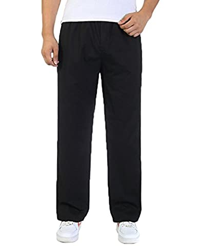 Pantalons de travail masculine coton Cargo taille ¨¦lastique loisirs Loose-Fit black XXL