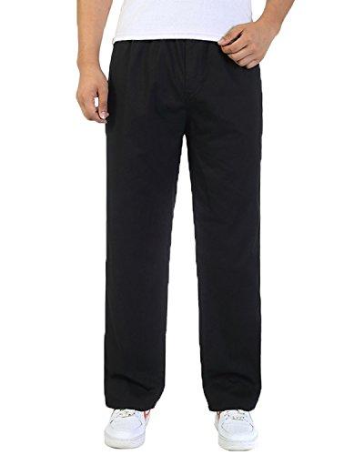 Herren Baumwolle Gummizug in der Taille locker geschnittene Freizeit Arbeit Cargohose black XXXL