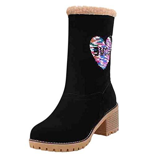 BaZhaHei Damen Stiefeletten Mode Elegante Stiefel Herbst Winter Schuhe Übergröße Chunky Heels Schneeschuhe Winterstiefel Warm gefütterte Schneestiefel