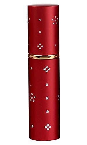 FeoYa - Joli Vaporisateur de Parfum Vide en Verre Paroi Interne Flacon Parfum Atomiseur Spray Motif à Fleur en Crystal 10ML Rechargeable de Forme de Rouge à Lèvres pour Femme Fille Voyage Uni Rouge