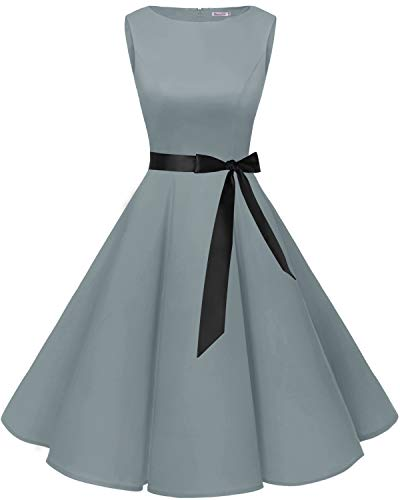 bbonlinedress 50s Retro Schwingen Vintage Rockabilly Kleid Cocktail Faltenrock Grey XL