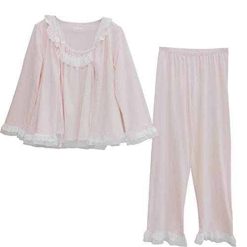 Mmllse Lace Mesh Gaze Hose Pyjama Sweet Stricken Baumwolle Dreiteilige Home-Service Weiblich One Size Pink