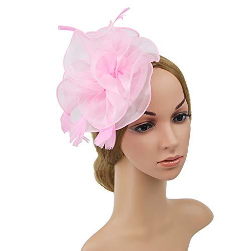 Frauen große Rüschen Blume Fascinator Hut Vintage Solid Color Multi Feder Kentucky Derby Tea Party Entenschnabel Haarspange ()