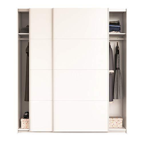 Baleari armadio armadietto guardaroba resistente robusto multiuso con 2 ante scorrevoli 2 ripiani e 2 appendiabiti camera da letto arredo arredamento 200 x 180 x 63 cm colore bianco lucido