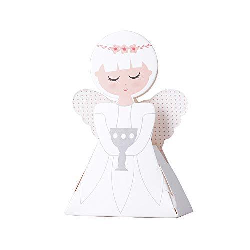 50 Stück Süße Geschenkboxen Angel für Taufe Hochzeit Geburt Babyparty Shower kommunion Gastgeschenk Kartonage Schachtel Tischdeko Bonboniere Box Süßigkeiten Pralinen Weiß 6 * 3 * 9.5cm - Mädchen