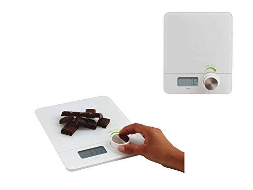 Digitale Küchenwaage ohne Strom Dynamo-Technik Drehknopf (Haushaltswaage kinetisch, LCD-Display, Angaben in gr und ml, Weiß)