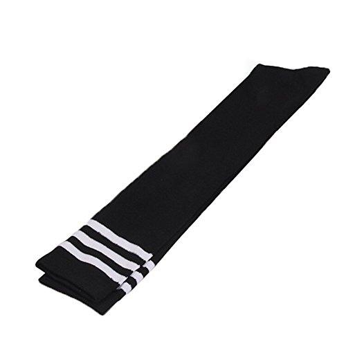 Weiß Schwarz Drei Streifen (DDLBiz Damen Elastisch Gestreift Stocking Drei Streifen Kniestrümpfe Hohe Baumwolle Socks (Weiß + Schwarz))