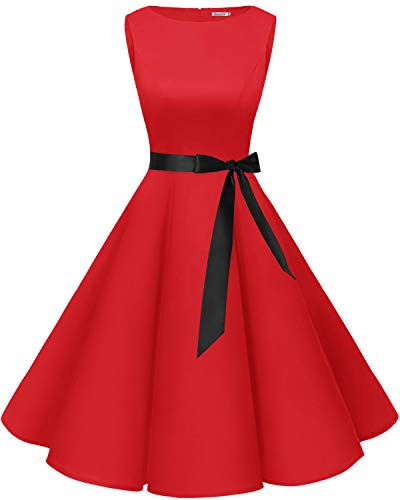 Bbonlinedress 50s Vestidos Vintage Retro Rockabilly Clásico Red...