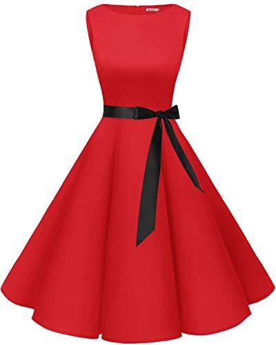 Bbonlinedress Robe Vintage rétro 1950's Audrey Hepburn de soirée Cocktail Mariage Anniversaire année 50 Rockabilly Red S