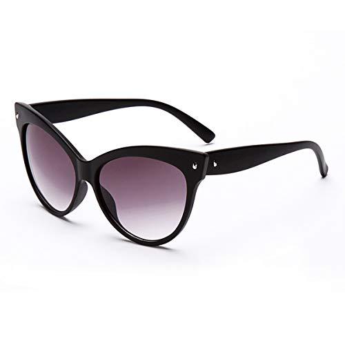 Leyeet Mujeres Moda Cat Eye Estilo Gafas de Sol Ligeras Remache Gafas de Sol Gafas con protección UV400 (Color : Matte Black)