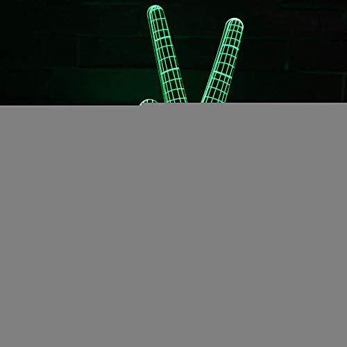 YDBDB Nachtlicht Sieg Geste 3D Lichter Kreative Sieben Farbe Led Visuelle 3D Lampe Nacht Weiß Basis Schöne Tisch Geschenk Nachtlicht -