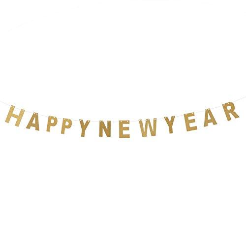 Tinksky Giltter Frohes Neues Jahr Banner Streamer 2018 Neujahr Hängende Dekorationen Bunting Garland Shop-Startseite Silvester Party Supplies (Gold)