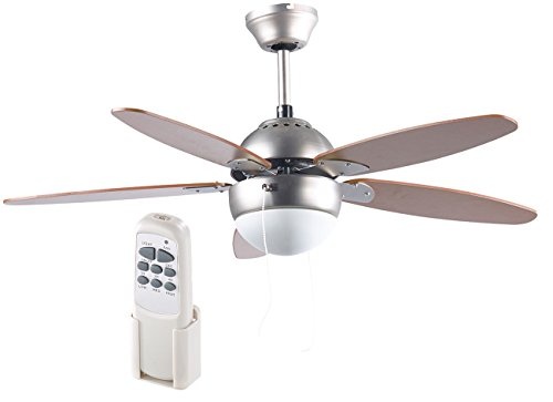 Sichler Haushaltsgeräte Lampe mit Ventilator: Deckenventilator VT-597 m. Holzflügeln, Beleuchtung, Fernbed, Ø 92 cm (Deckenventilatoren mit Lampe)