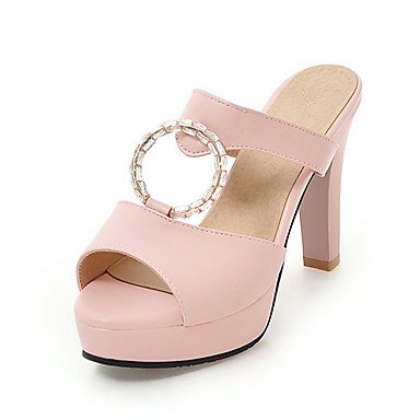zhENfu Donna Sandali Slingback PU Primavera Estate Autunno Abito casual Rhinestone Chunky Heel Bianco Nero Blu Beige arrossendo rosa 4A-4 3/4in Blushing Pink