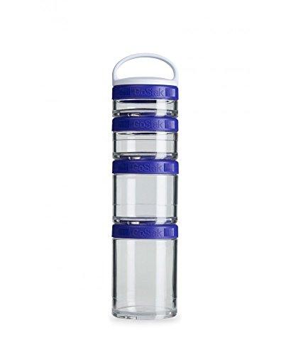 BlenderBottle GoStak Container zum Aufbewahren von Protein| Eiweiß| Pulver| Vitaminen & mehr- Starter 4Pak inkl. Henkel lila (150ml, 100ml, 60ml & 40ml)