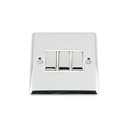 AET SWI3GCCWC 3 Gang, 2 Vie, 10 A, classico in metallo cromato lucido con inserto bianco per interruttore A bilanciere