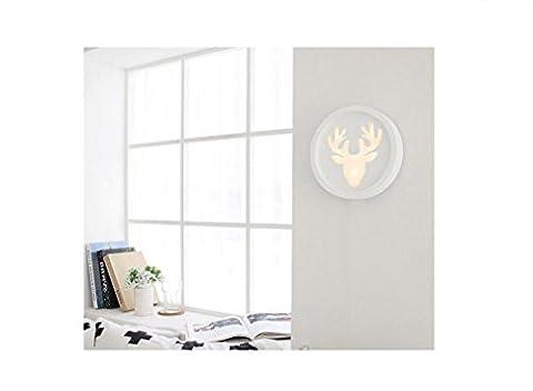 GRFH 12W Led Round Deer Kopf Wand Lampe Wohnzimmer TV Sofa Hintergrund Wandleuchten Treppenhaus Gang Energiesparlampen Wandleuchten , a